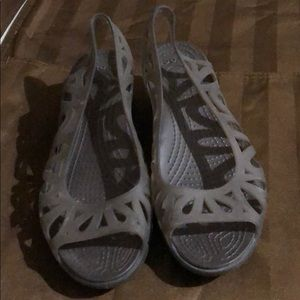 Crocs Charcoal Gray Wedge Slingback Sandals
